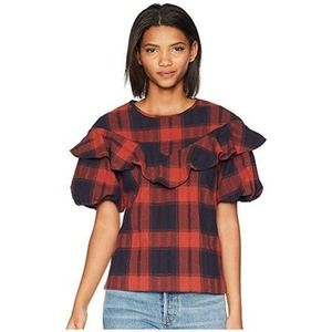 BCBGeneration Ruffle Overlay Top Red Size Large